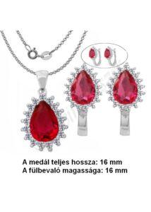 Rubin köves ékszergarnitúra, ezüst ékszer