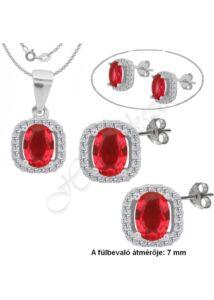 Rubin köves medál, fülbevaló ékszergarnitúra, ezüst ékszer