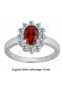 Ezüst gyűrű vörös, rubin kővel, ezüst ékszer.