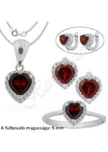 Szív alakú rubin köves medál, fülbevaló, gyűrű, nyaklánc, ezüst ékszer
