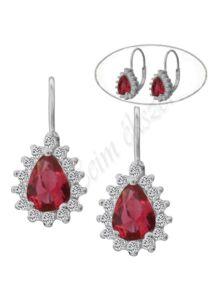 Rubin piros csepp köves fülbevaló, ezüst ékszer
