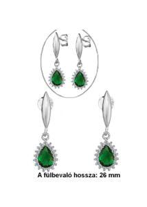 Smaragd köves, csepp alakú fülbevaló, ezüst ékszer
