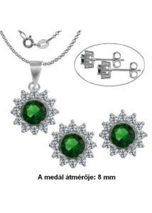 Smaragd zöld köves, ezüst fülbevaló, medál, nyaklánc szett, ezüst ékszer