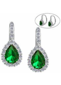 Smaragd zöld csepp köves fülbevaló, ezüst ékszer