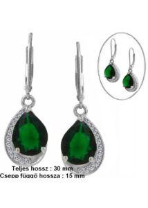 Smaragd zöld köves mutatós fülbevaló, ezüst ékszer