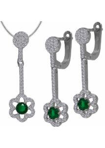 Smaragd köves ékszergarnitúra, ezüst ékszer.