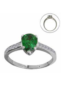 Smaragd zöld csepp köves ezüst gyűrű, ezüst ékszer