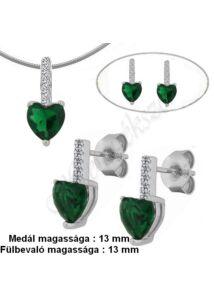 Smaragd zöld köves fülbevaló, medál, nyaklánc, ezüst ékszergarnitúra