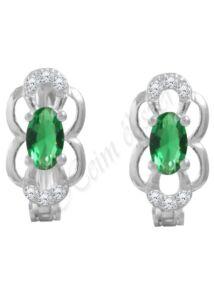Zöld köves ezüst fülbevaló, ezüst ékszer