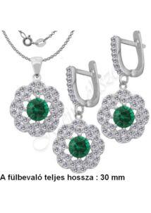 Smaragd köves fülbevaló, medál, nyaklánc, ezüst ékszer több hosszban