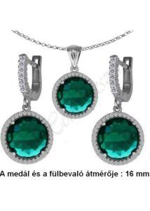 Smaragd zöld köves fülbevaló, medál, nyaklánc, ezüst ékszerszett