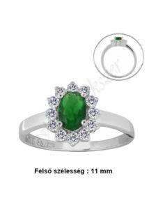 Smaragd zöld köves gyűrű, ezüst ékszer több méretben
