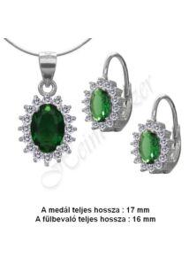 Smaragd zöld köves ékszergarnitúra, ezüst ékszer