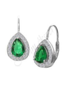 Smaragd köves fülbevaló, ezüst ékszer