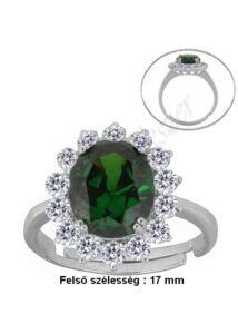 Smaragd zöld köves gyűrű, ezüst ékszer állítható méretben