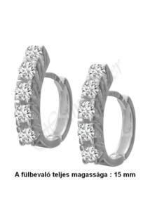 Sorköves karika fülbevaló ( nem bébi ), megnyúlt füllyukat eltakaró ezüst ékszer