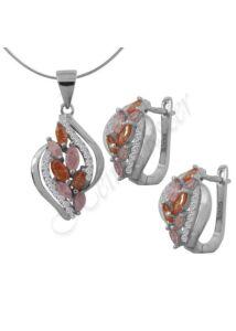Narancs - rózsaszín köves ékszergarnitúra, különleges spirituális ezüst ékszer több hosszúságban