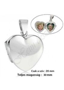 Szív alakú fényképtartó medál, ezüst ékszer