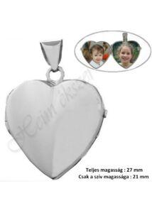 Szív alakú fényképtartó nyitható medál, fehér arany ékszer