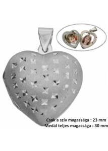 Szív pufi fényképtartó nyitható medál, csillogó ezüst ékszer