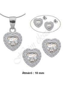 Szív fülbevaló medál nyaklánc ékszergarnitúra, ezüst ékszer több hosszúságban