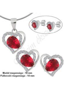 Szív fülbevaló medál nyaklánc ékszergarnitúra, piros köves ezüst ékszer több hosszúságban