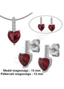Rubin piros köves fülbevaló, medál, nyaklánc garnitúra, ezüst ékszer