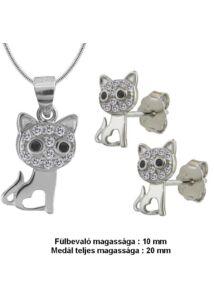 Szivecskés cica fülbevaló medál nyaklánc ékszergarnitúra, ezüst ékszer.