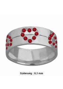Szíves piros köves gyűrű, ezüst ékszer