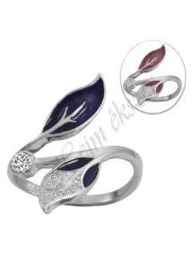 Szecessziós színváltós hangulat gyűrű, nyitott állítható ezüst ékszer