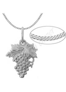 Szőlőfürt medál nyaklánccal, ezüst ékszer több hosszúságban