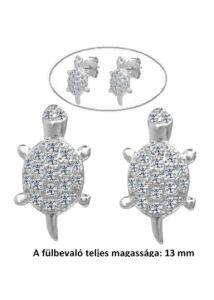 Teknős fülbevaló, kövekkel díszített ezüst ékszer