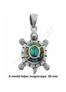 Teknős medál pávakagylóval díszítve, ezüst ékszer