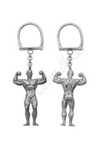 Testépítő, bodybuilder medál, ezüst kulcstartó