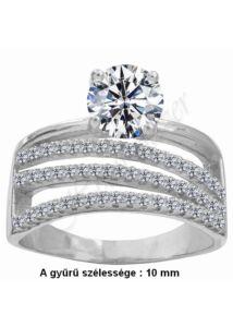 Többsoros köves kísérő gyűrű, ezüst ékszer AKCIÓ ( utolsó darabok )
