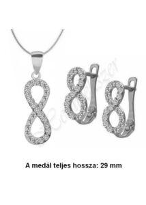 Végtelen jeles, infinity fülbevaló, medál,nyaklánc ékszerszett, ezüst ékszer