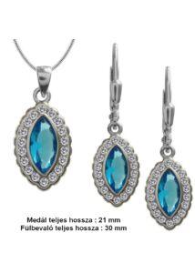 Világoskék köves fülbevaló medál nyaklánc ékszerszett, ezüst ékszergarnitúra