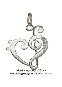 Violinkulcs basszuskulcs medál, ezüst ékszer