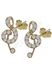 Violinkulcs fülbevaló, sárga arany ékszer