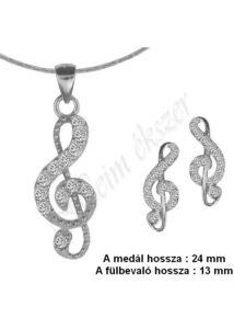 Violinkulcs medál, nyaklánc, fülbevaló garnitúra, ezüst ékszer.
