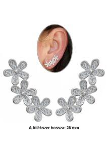 Virágos fülékszer, ezüst fülbevaló