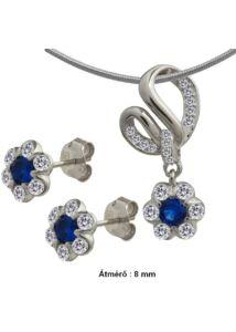 Virágos, kék köves fülbevaló, medál nyaklánc garnitúra, ezüst ékszer