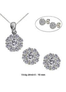 Virágos köves fülbevaló medál nyaklánc ékszergarnitúra, ezüst ékszer