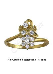 Virágos arany gyűrű, arany ékszer minden méretben