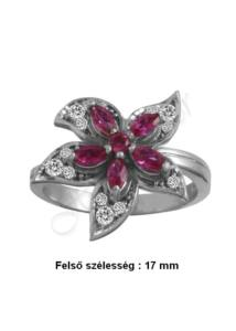 Virágos rubin köves ezüst gyűrű, ezüst ékszer ( minden méretben)