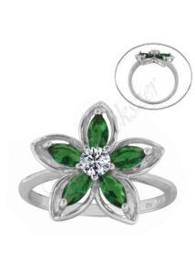 Zöld köves virágos gyűrű, ezüst ékszer minden méretben