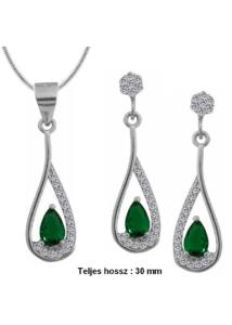 Zöld köves fülbevaló medál nyaklánc ékszergarnitúra, ezüst ékszer