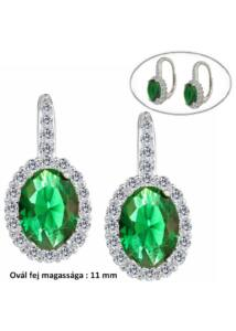Zöld ovál köves patent záras fülbevaló, ezüst ékszer