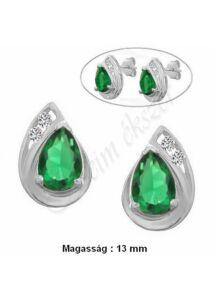 Smaragd zöld csepp köves fülbevaló, fehér arany ékszer
