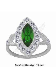 Zöld navett köves gyűrű, ezüst ékszer minden méretben